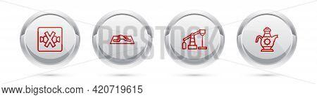 Set Line No Sweets, Muslim Man Prays, Oil Pump Or Pump Jack And Islamic Teapot. Silver Circle Button