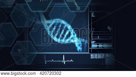 Composition of dna strand, chemical compounds and medical data processing on screen. data processing, technology, science and medicine concept digitally generated image.