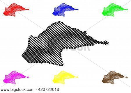 Me-zochi District (democratic Republic Of Sao Tome And Principe, Saint Thomas And Prince) Map Vector