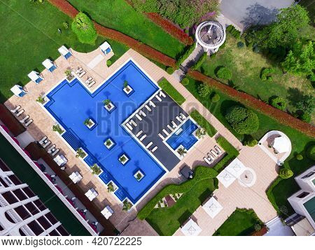 Burgas, Bulgaria - May 15, 2021: Primoretz Grand Hotel And Spa. Aerial View Of Luxury Outdoor Swimmi