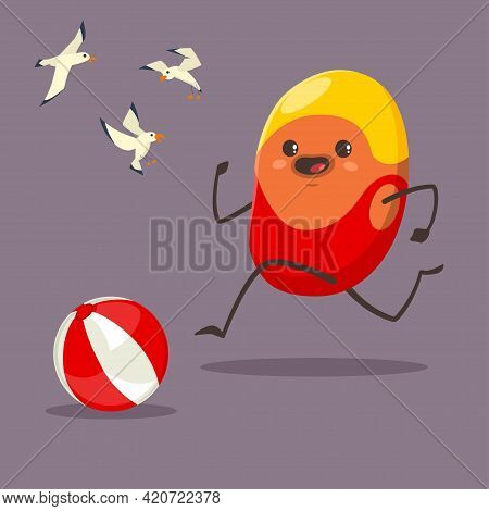 Funny Potato In A Swimsuit, Rubber Yellow Cap With Seagulls And A Beach Ball. Vector Cartoon Vegetab