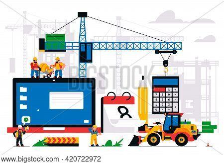 The Website Is Under Construction. Error Page, Maintenance. Construction Site, Machinery, Crane, Wor