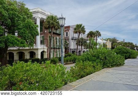 Historic Homes Along East Bay Street On The Battery In Charleston South Carolina