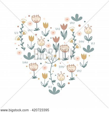 Cartoon Scandinavian Vector Floral Heart With Doodle Flowers. Hand Drawn Valentines Day Symbol