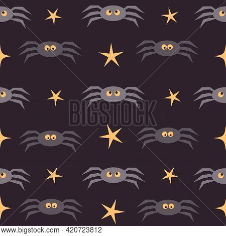 Halloween Seamless Pattern Background. Funny Spiders And Stars Isolated On Purple For Design Hallowe