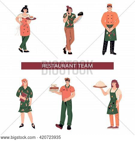 Restaurant, Fast Food Or Take Away Cafe Staff Characters Set, Cartoon Vector Illustration Isolated O