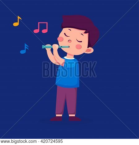 Cute Boy Playing On A Musical Instrument Recorder