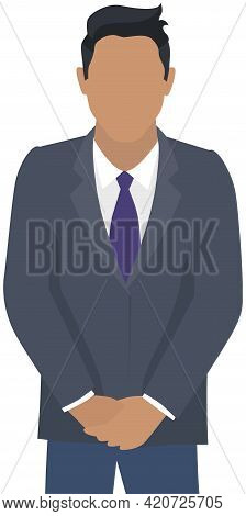 Confident Businessman In Office Outfit. Man In Dark Suit And Tie Isolated On White Background Standi