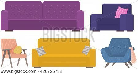 Set Of Sofa Illustrations On Theme Of Leisure Furniture. Couch With Colorful Pillows Vector. Sofas I