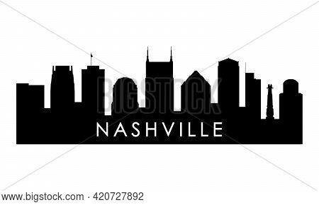 Nashville Skyline Silhouette. Black Nashville City Design Isolated On White Background.