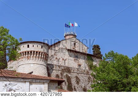 View Of The Facade Of A Historic Medieval Castle In Brescia, Lombardy, Italy