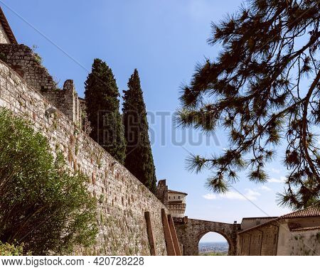 Behind The Walls In The Castle Of Brescia City. Lombardy, Italy