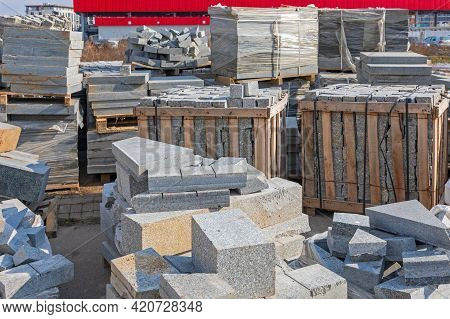 Cobblestones Blocks Bricks In Crates At Pallets Construction Site Material