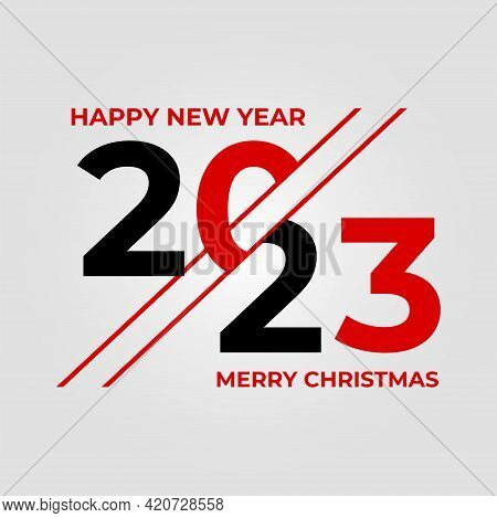 2023 Happy New Year Logo Text Design. 2023 Number Design Template. Vector Illustration With Black La