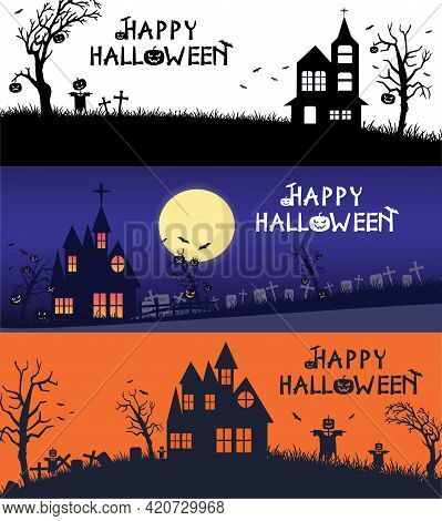 Vector Set Of Halloween Holidays Hand Drawn Style Halloween Poster Designs With Halloween Symbols An