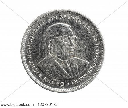 Mauritius Twenty Cents Coin On White Isolated Background