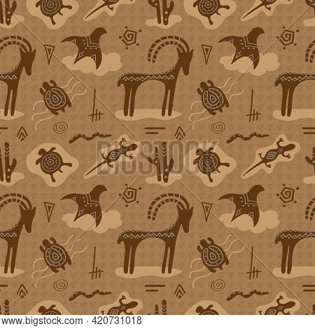 Cave Art. Rock Paintings With Primitive Animals, Seamless Vector Pattern. Illustration With Deer, Tu