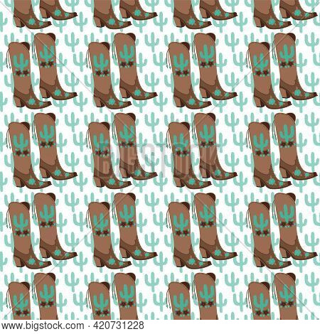 Cowgirl Boots Country Seamless Pattern For Prints On Textile. Vector Illustration With Turcuise Cact
