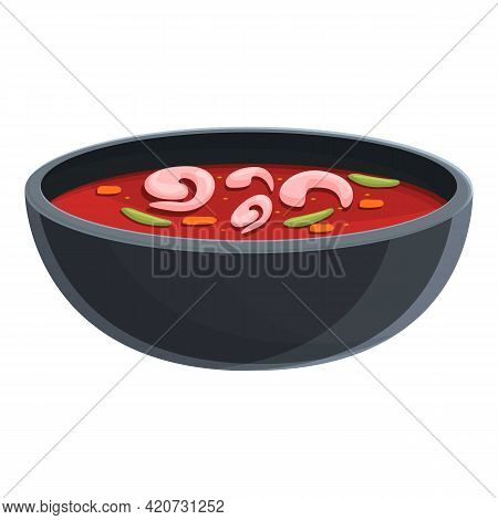 Shrimps Soup Icon. Cartoon Of Shrimps Soup Vector Icon For Web Design Isolated On White Background