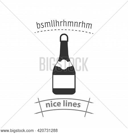 Champagne Bottle Simple Vector Icon. Champagne Isolated Icon