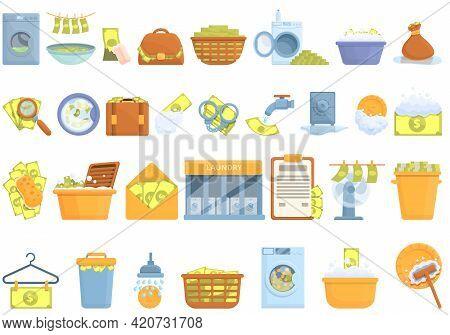 Anti-money Laundry Icons Set. Cartoon Set Of Anti-money Laundry Vector Icons For Web Design