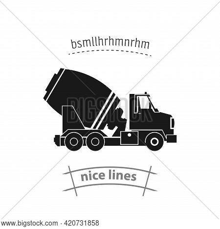 Concrete Mixer Truck Icon. Concrete Truck Simple Vector Icon. Mixer Truck Isolated Icon