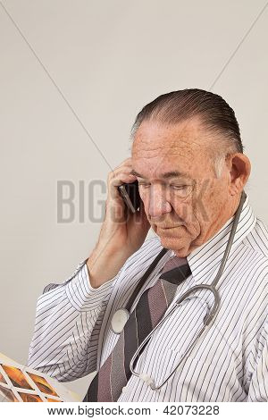 Doctor on cell phone