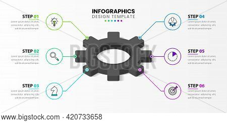 Infographic Design Template. Creative Concept With 6 Steps. Can Be Used For Workflow Layout, Diagram