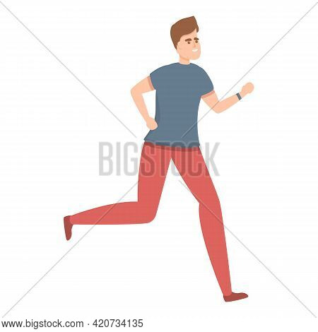 Running Tracker Icon. Cartoon Of Running Tracker Vector Icon For Web Design Isolated On White Backgr