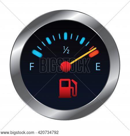 Vector Empty Fuel Warning Light In Car Dashboard. Fuel Pump Icon. Gasoline Gauge Dash Board In Car W
