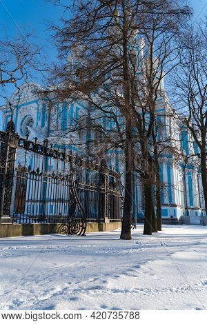 View To Smolny Cathedral From Smolny Park. Sunny Winter Day. Sankt Petersburg, Russia.