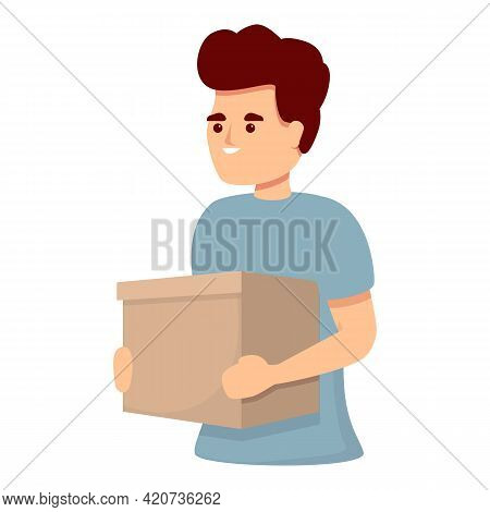 Colleague With Box Icon. Cartoon Of Colleague With Box Vector Icon For Web Design Isolated On White