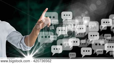 Composition of woman touching interactive screen with digital speech bubbles. global networking, connection and digital interface concept digitally generated image.