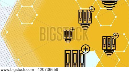Composition of black plus icons with white chemical compounds structures on orange background. global research, medicine and science concept digitally generated image.