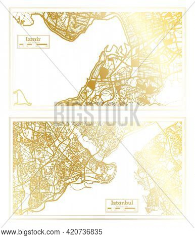 Istanbul and Izmir Turkey City Map Set in Retro Style in Golden Color. Outline Map.