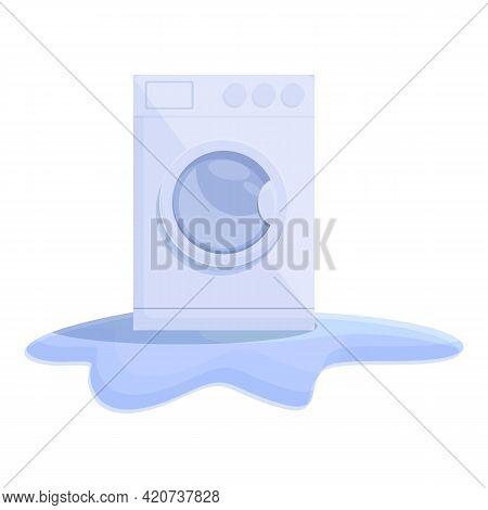 Small Broken Washing Machine Icon. Cartoon Of Small Broken Washing Machine Vector Icon For Web Desig
