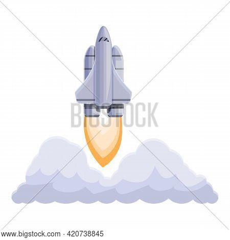 Spacecraft Launch Shuttle Icon. Cartoon Of Spacecraft Launch Shuttle Vector Icon For Web Design Isol