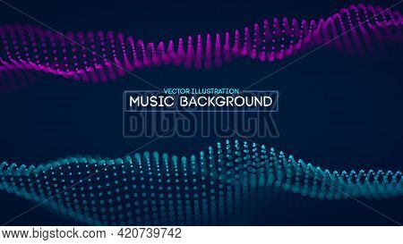 Music Background Blue Abstract Futuristic Background. Future Technology Vector Noise Abstract Techno