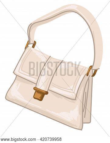Vintage Leather Bag With Strap, Retro Handbag 1970