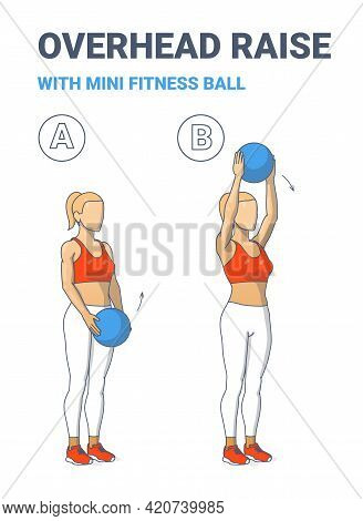 Girl Doing Overhead Raise With Medicine Ball Home Workout Exercise Guidance Illustration.