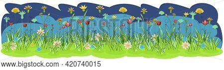 Blooming Meadow With Grass, Flowers. Green Night Landscape. Cartoon Style. Fabulous Vector Illustrat
