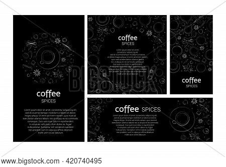 Vector Templates Of Coffee Or Tea Spices For Cards, Invitations, Menus, Banners. Graphic Hand Drawin
