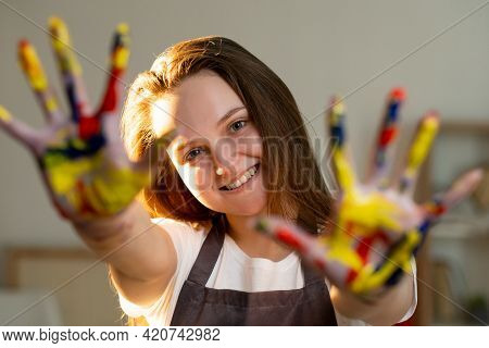 Art Hobby. Female Painter. Creative Life. Inspiration Muse. Happy Artistic Woman In Apron Showing Ha