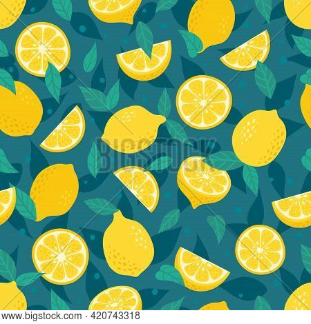 Cute Vector Lemon Seamless Pattern. Cartoon Summer Fruit Slice, Fresh Green Leaves, Yellow Lemons Pr