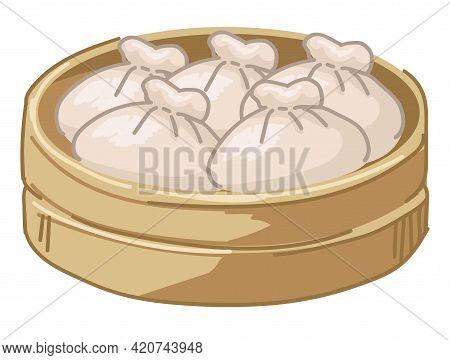 Chinese Dumplings Food Served In Wooden Plate
