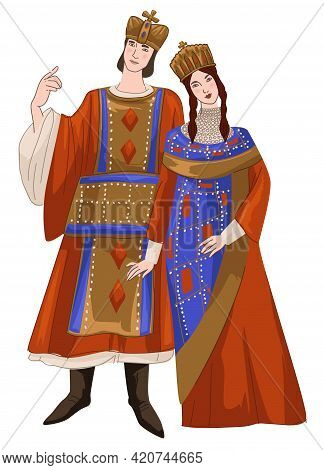 Man And Woman Wearing Traditional Byzantine Suit