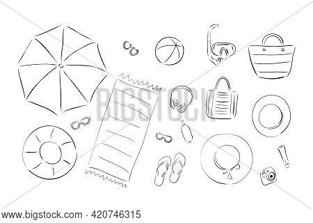 Summer Beach Vacation Vector Illustration. Set For A Beach Holiday In A Flat Design: Glasses, Hats,