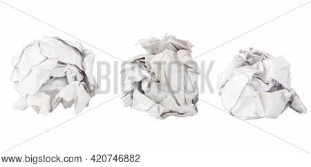 Paper Ball Isolated On White Background Isolated.