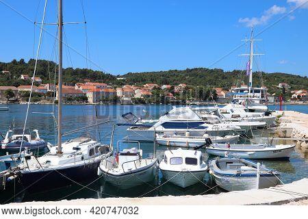 Korcula, Croatia - June 24, 2019: Sailboats Moored In Lumbarda Marina Of Korcula Island In Croatia.