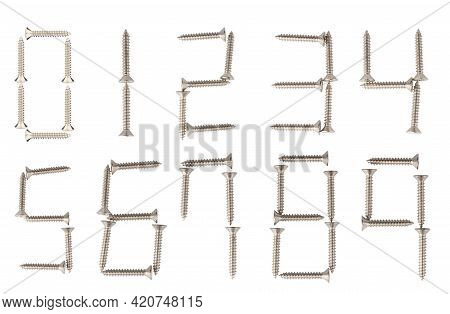 Naill Number Steel Isolated On White Background.